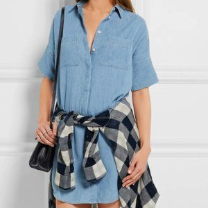 MADEWELL Cotton and linen-blend chambray dress